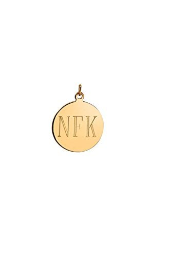 14k gold large engraved disc pendant, Zoe Lev Jewelry