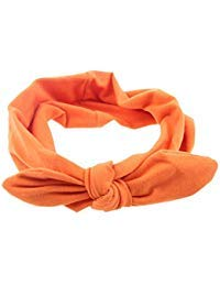 Pop Your Dream Vintage Adults Elastic Headband Cute Bunny Ears Bow Stylish Hairband Twisted Hair Decor Accessory Orange