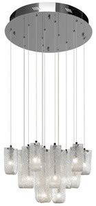 Elan Lighting 83094 Zanne 15LT Pendant, Chrome Finish and Hand-Formed Clear Glass with Flame Chipped Inside