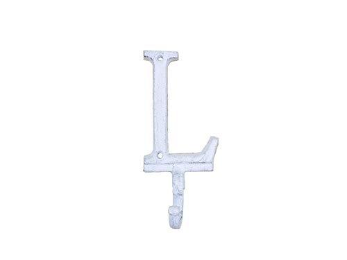 Hampton Nautical Whitewashed Cast Iron Letter L Alphabet Wall Hook 6