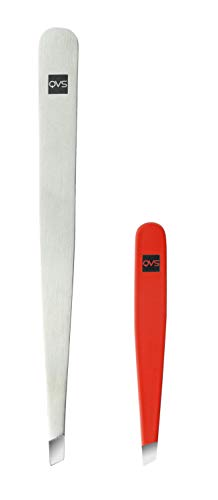QVS Tweezers Stainless Steel Slant Tip with Free Pink Micro Tweezers and Pouch from QVS