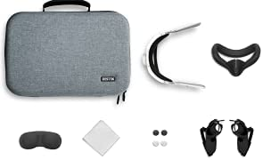 DESTEK VR 7 in 1 Carrying Case with Head Strap, Face Pads, Full Set Accessories for Oculus Quest 2