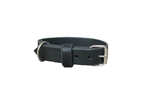 Black Leather Dog Collar, Ideal for All Breeds, Adjustable Collar, YupCollars, Made in Italy