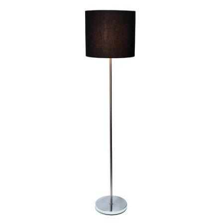 Simple Designs Brushed Nickel Drum Shade Floor Lamp, Black