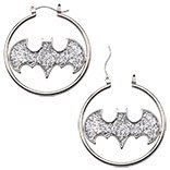 DC Comics Official License Batman Silver Tone Color with Glitter Fashion 1.5 Hoop Earrings