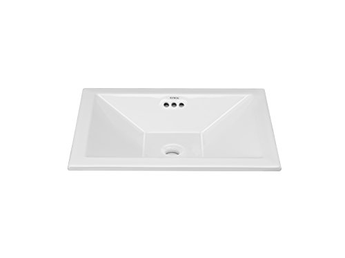 RONBOW ESSENTIALS Monument 19 Inch Ceramic Vessel Drop-In with overflow in White 200361-WH by Ronbow