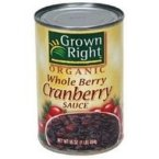 Grown Right Organic Whole Cranberry Sauce, 14 Ounce - 24 per case.