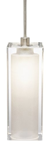 Stone Lighting PD222CRSNX3M Crystal Rectangle - One Light Monopoint Mini Pendant, Satin Nickel Finish ()