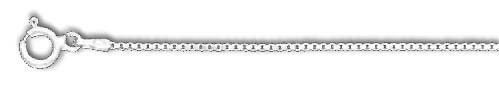 (Sterling Silver 18 Inch X 1.2 mm Box Chain Necklace - O Ring Clasp -)