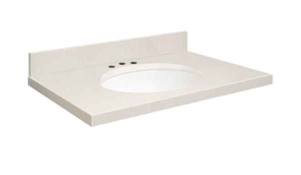 Samson Q2519 3a A W 8c Quartz Vanity Top 25x19 With Single Undermount White Bowl 8 Inch Offset Eased Edge Milan White Bathroom Vanities