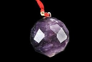 CRYSTALMIRACLE Beautiful Amethyst Gemstone Feng Shui Hanging Ball Reiki Dowsing Crystal Healing Wellness Home Office Gift Powerful Meditation Positive Energy Peace Meditation Aura Chakra ()