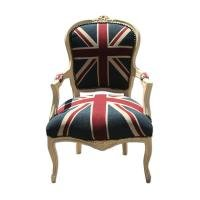 LOUIS STYLE UNION JACK CHAIR CREAM