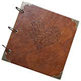 GnD Heart-Shaped Leather Cover Scrapbook DIY Photo Album,Perfect as Wedding Guest Book/Anniversary Gift