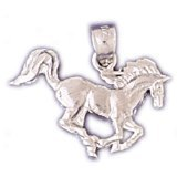 CleverEve 14K Yellow Gold Animal Kingdom Running Horse Pendant 1.5 Grams