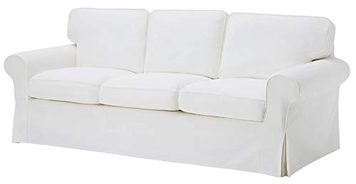 "The Heavy Duty Cotton Ektorp 3.5 Seat Width: 98"" (Not Regular 3 Seat) Sofa Cover Replacement is for IKEA Ektorp Three and Half Sofa Cover, an Ektorp Sofa Slipcover Replacement (White)"