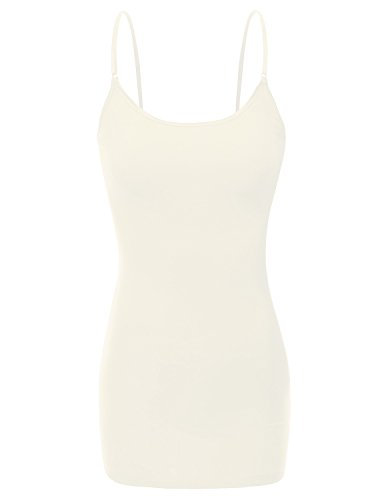 Ivory Cami Top (RT1002 Ladies Adjustable Spaghetti Strap Basic Long Cami Tank Top Ivory L)