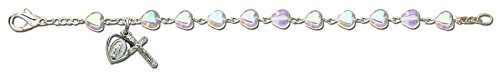 (silver plated bead first communion rosary bracelet mm1668)