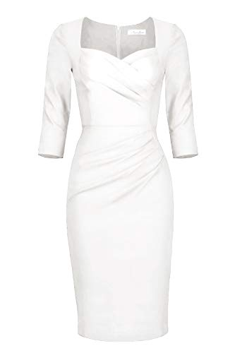 Newdow Lady Celebrity Classic Pleated Inspired Pencil Dress (X-Large, White)