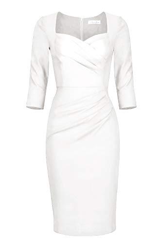 Newdow Lady Celebrity Classic Pleated Inspired Pencil Dress (XX-Large, White)