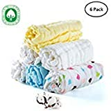 Baby Muslin Washcloths, Face Towel, Baby Wipes, Natural Pure Cotton, Face Towel for Newborn Baby Sensitive Skin as Shower Gift, 6 Pack, 12X12 inches