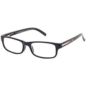 Foster Grant +2.00 Classic Men's Black Rectangular Reading Glasses - Carrera Glasses Reading