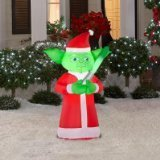 Gemmy Airblown Inflatable Yoda Wearing Dressed as Santa - Holiday Yard Decoration, 3.5 Feet - Inflatable Airblown New