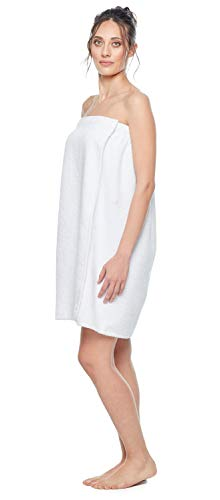 Arus Women's GOTS Certified Organic Turkish Cotton Adjustable Closure Bath Wrap S/M Ice White ()