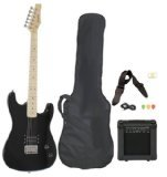Davison Guitars EB2350BKPK Full Size Electric Guitar with Amp, Case and Accessories Pack