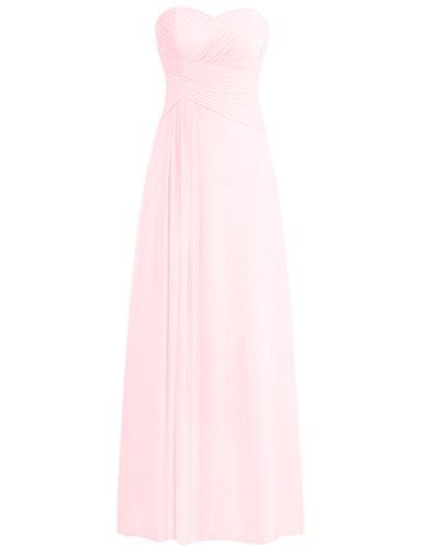 de Tirantes Gasa de Vestido Dama de Fiesta Vestidos JAEDEN Largo Rosa de Honor Vestido Claro la Sin Tarde Zq57wSY