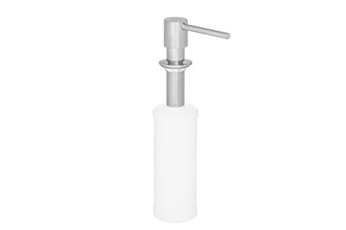 eModernDecor Built in Round Solid Brass Pump Deck Mount Modern Hand/Dish Soap Dispenser Polished Chrome - All Metal Construction - 13 OZ Capacity Bottle - Easy Refill From Top