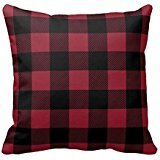 ForcoolStore retro Red and Black Plaid Throw Pillow Case Cushion Cover