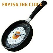 Hometime Frying Pan Wall Clock with Egg -Black