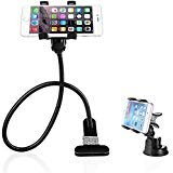 BESTEK 2-in-1 Gooseneck Flexible Cell Phone Clip Holder Stand Support 360-degree Roating