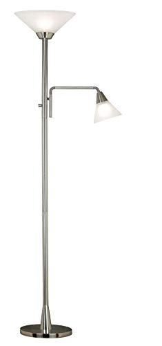 Rush Torchiere Floor Lamp in Brushed Steel