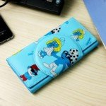 Cartoon The Smurfs Pattern Long Leatherette Wallet Purse for Girl Woman (Blue)