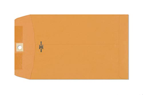 6x9 Clasp Envelopes - Brown Kraft Catalog Envelopes with Clasp Closure & Gummed Seal - 28lb Heavyweight Paper Envelopes for Home, Office, Business, Legal or School - 100 Box Manila Envelope 6 x