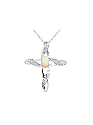 - Rylos Diamond & Opal Cross Pendant Necklace Set in Sterling Silver .925