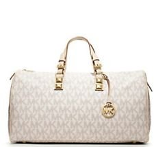 fced69cdc189 Image Unavailable. Image not available for. Color: MICHAEL KORS GRAYSON DUFFLE  BAG VANILLA WHITE ...