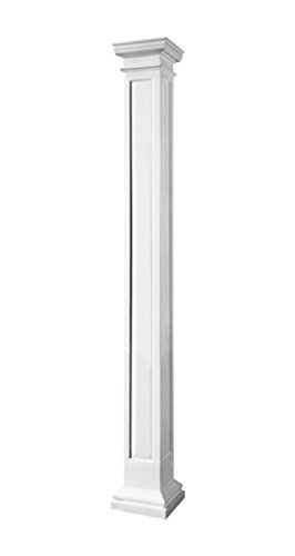 Endura-Stone Square Non-Tapered Recessed Panel Column (FRP), Smooth Paint-Grade, Tuscan Capital & Base, 10