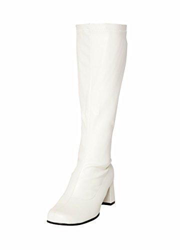 Bottes de fête, montant aux genoux, simili cuir, taille 38, blanc