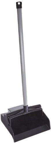 "Impact 2600I LobbyMaster Plastic Lobby Dust Pan with Gray PVC Handle, 11"" Length x 12"" Width x 37"" Height, Black"
