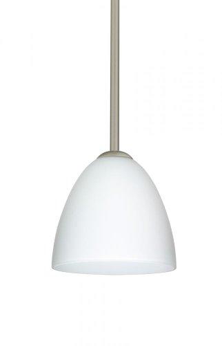 Besa Lighting 1TT-447007-SN 1X60W A19 Vila Pendant with Opal Matte Glass, Satin Nickel Finish