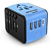 BESTEK Universal Travel Adapter, Power Adapter with USB C Charger, All in One Worldwide AC Outlet Plug Converter for US Europe AU More Than 200 Countries, 1 AC Outlet + 1 USB-C Port + 3-USB Ports
