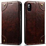 Flip Cover Compatible iPhone 10S MAX, 6.5 inches, PU Leather Wallet Phone Case Book Style Cover Coffee