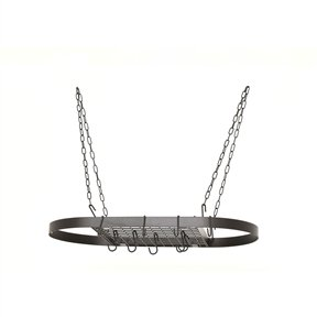 Oval Hanging Pot Rack with Chains and 2 Hooks in Matte Black Suggested Category Home & Garden/Inside The Home/Kitchen, Dining & Bar/Kitchen Storage & Organization/Racks & Holders Change cate Svitlife from Svitlife