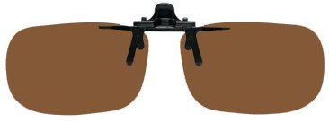 Polarized Clip on Flip up Plastic Sunglasses, Large Tru Rectangle, 60mm or 2-23/64″ Wide X 38mm or 1.50″ High (128mm or 5″ Wide), Polarized Brown Lenses, Outdoor Stuffs