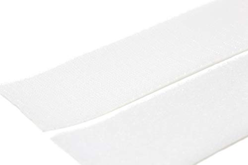 (Strenco 1 Inch Self Adhesive Hook and Loop - 5 Yard - White Sticky Back Tape Fastener - 15 feet - Light Weight)