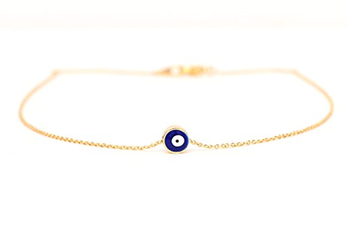 ecklace, Small Evil Eye Pendant on a 14k Gold Delicate Chain (Blue Evil Eye Necklace)