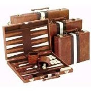 18  Brown and White Backgammon Set