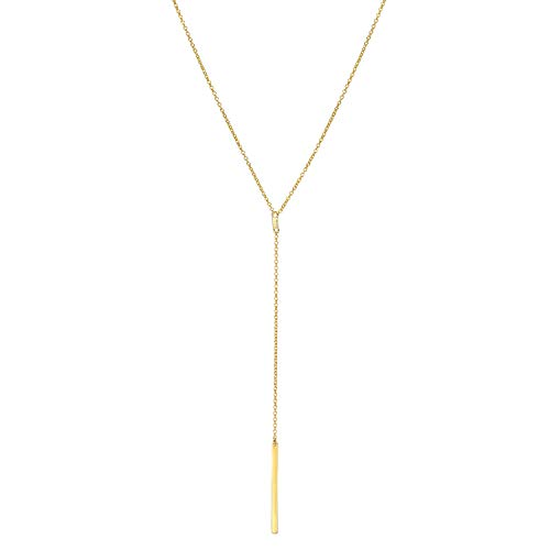 925 Sterling Silver Womens Simple Delicate Heart Chokers Necklace Jewelry Personalized Small Gold-plated Love Necklace for women (Gold-plated Long Lariat Y)